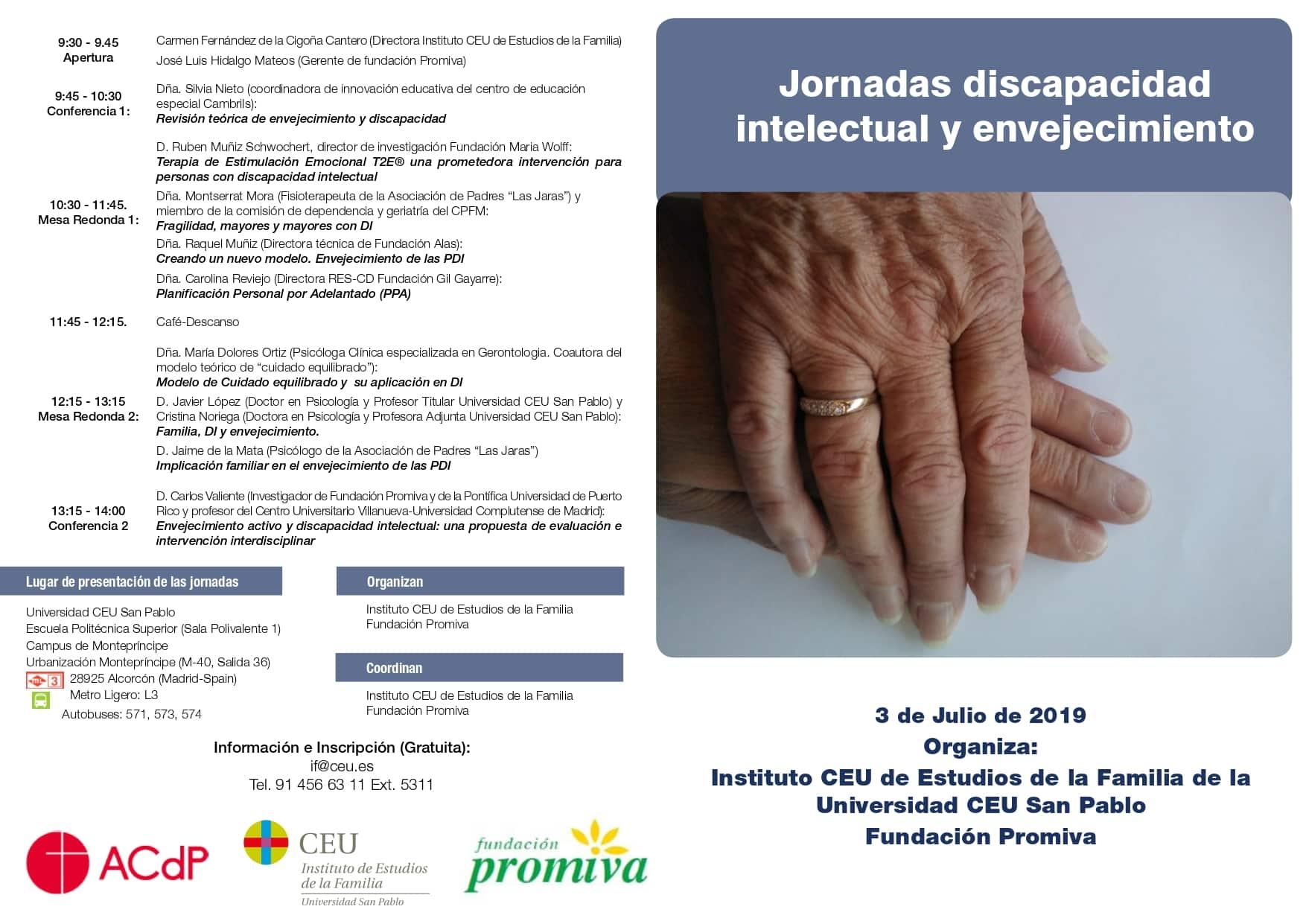 Jornada de discapacidad intelectual y envejecimiento / 3 de julio de 2019